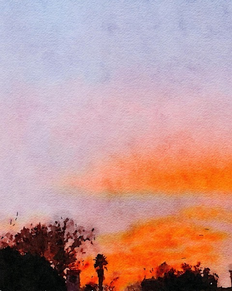 Sunset Watercolor via Instagram