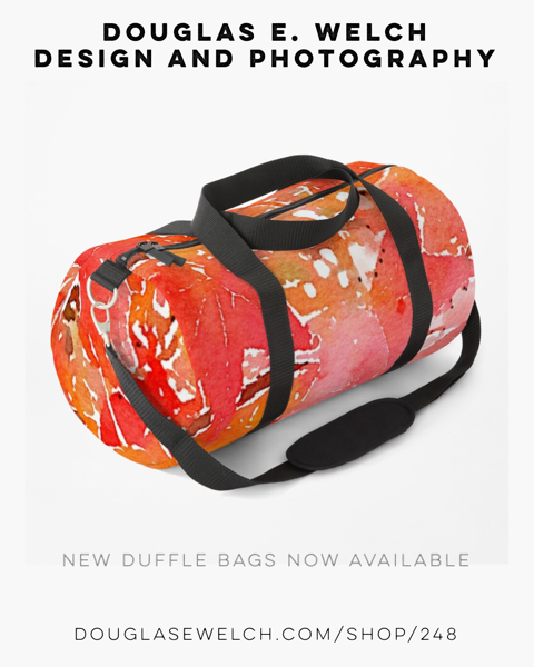 Liquidambar Leaves In Autumn Watercolor Duffle Bags Exclusively From Douglas E. Welch Design and Photography [Buy Now]
