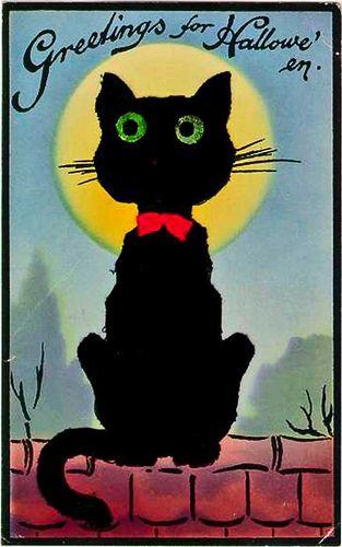 Halloween 2020 – 6 in a series – Vintage Black Cat Halloween Card