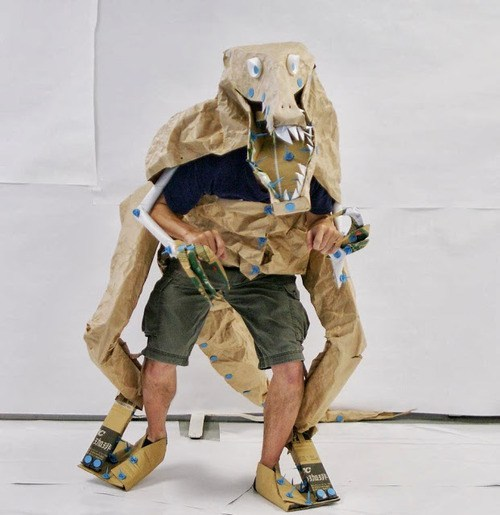 Halloween 2020 – 3 in a series – Articulated Dinosaur Costume From Cardboard via Makezine