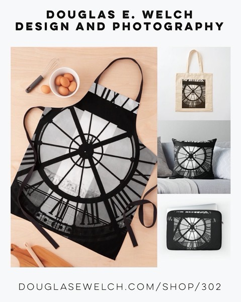 New Design: Clock Face, Musee d'Orsey, Paris (2000) Aprons, Pillow, and More from Douglas E. Welch Design and Photography [For Sale]