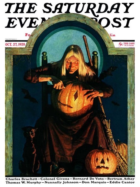 "Halloween 2020 – 56 and end of the series – ""Witch Carving Pumpkin,"" Saturday Evening Post Cover, October 27, 1928"