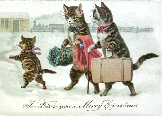 "Order Now! ""To Wish You A Merry Christmas"" Vintage Christmas Postcard (1907) with Cat Family Heading to Station Christmas Cards from Douglas E. Welch Design and Photography [For Sale]"
