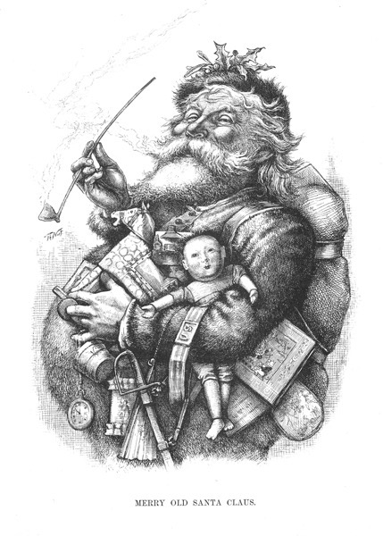 "Order Now! Vintage Santa Christmas Etching ""Merry Old Santa Claus"" by Thomas Nast Christmas Cards from Douglas E. Welch Design and Photography [For Sale]"