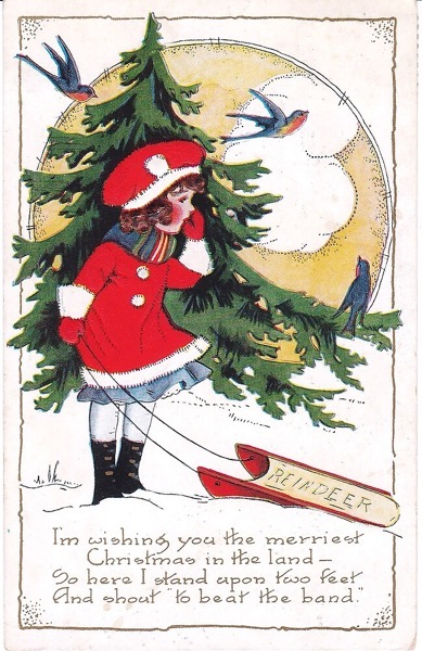 Order Now! Vintage Christmas Card with Girl, Sled and Evergreen Christmas Cards from Douglas E. Welch Design and Photography [For Sale]